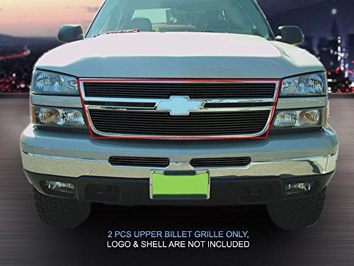 Fedar Compatible With 05-07 Chevy Silverado Bolt Over Style Billet Grille Grill 2-pc Set-Black #32-0081 ()