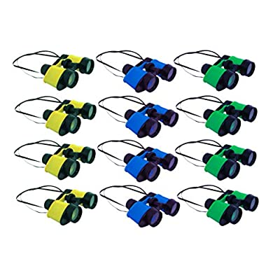 Plastic Kids Binoculars In Assorted Colors For Pretend Play - Party Favor Pack Of 12 Toy Binoculars: Toys & Games