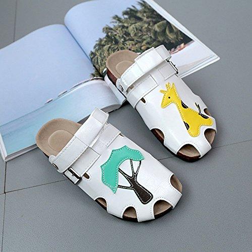 Yellow Pantofole Fondo Baotou Indossano Femminile Estate Scarpe XING Cute Studenti Cartoon Sandali Cork Buco Due E Nuovo Sandali GUANG Da Piatto Rx8AqO