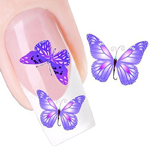 Nail Art Water Butterfly Water Nail Art Decal / Tattoo / (Purple Butterfly Tattoo)