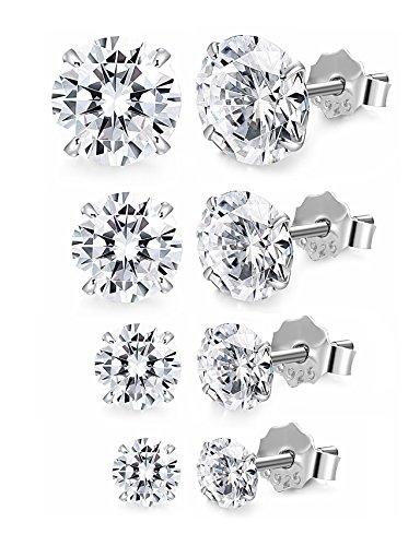 Ear Sterling Silver Studs (FUNRUN JEWELRY 4 Pairs Sterling Silver Stud Earrings for Women Men CZ Earring Piercing Hypoallergenic (A:4 pairs cubic zirconia))