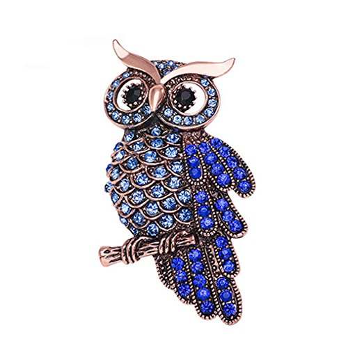 Partyfareast Cute Owl Brooch Pins Rhinestone Animal Brooch (owl B)