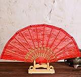 Red Fashion Vintage Spanish Plastic Golden Lace Flower Decor Party Hand Held Dance Fan Women Summer Party Folding Fan