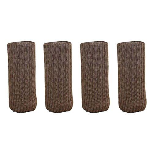 Sundlight Double Layersタイプ椅子脚ソックス足滑り止めストラップthichened knitting4pcs ブラウン Sundlight-123 B0722XYW5R コーヒー