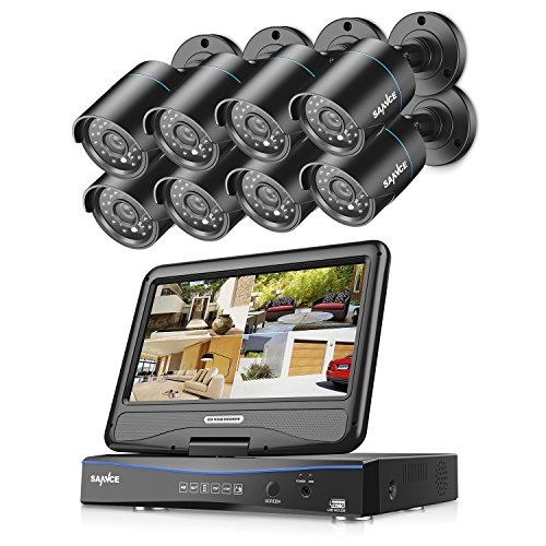 Cheap SANNCE 8CH 720P DVR Recorder with built-in 10.1″ LCD monitor and (8) 1.0MP 1280TVL Weatherproof Cameras, H.264 Real-time Security System, Support Phone Remote Access Viewing (NO HDD)