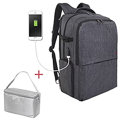 Travel Picnic Backpack for Men Women Waterproof 17 inch Laptop Backpack with USB Charging Port Independent Compartment for Lunch Box or Shoes Waterproof Large Capacity Sporty Busniess Bag Dary Grey good