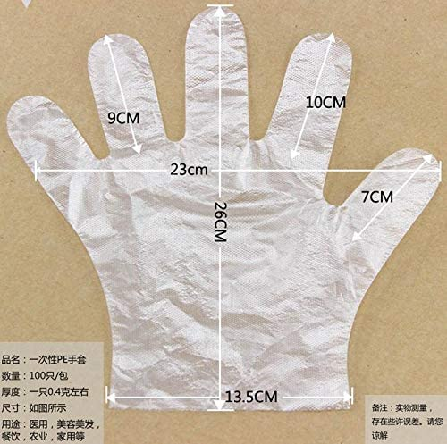 100 PCS Clear Plastic Disposable Polyethylene Work Gloves Industrial Clear Suitable for Left and Right Hands 100ps Disposable Gloves
