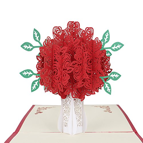Ups Business Card - Big Rose 3D Pop UP Greeting Cards Fantastic Flower Handmade Gift Card For Valentine's Day Birthday Anniversary Invitation Wedding Love Gifts (Red Rose)