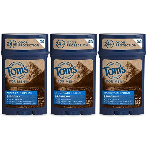 Tom's of Maine Men's Long Lasting Wide Stick Deodorant, Deodorant for Men, Natural Deodorant, Mountain Spring, 2.25 Ounce, 3-Pack