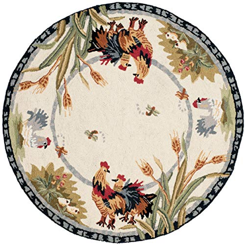 (3ft Round Hen Rug Farmhouse Theme Roosters Motif Ivory Circular Area Rug Black Border Indoor Decorative Circle Floor Mat Carpet for Living Room Entryway Bedroom)