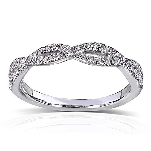 Round Diamond Braided Wedding Band 1/6 carat (ctw) in 14K White Gold, Size 9 White Gold Braided Wedding Band