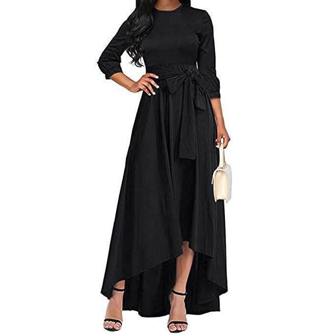 8f106c9b4bff Amazon.com: Summer Homecoming Cocktail High Low Maxi Dress Women's Three Quarter  Sleeve Belt Flowy Cocktail Dress Black: Clothing