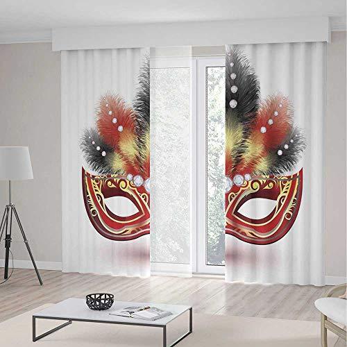 iPrint Masquerade Decor Curtains,Party Mask Decorative Feathers Diamond Figures Illustration Print,Window Drapes 2 Panel Set, Living Room Bedroom,142 W 106 L,Black Red (Black Velvet Feather Mask)