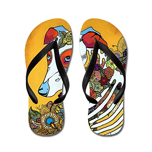 CafePress Dia Los Muertos, Day Of The Dead, Dog, Flip Flops, Funny Thong Sandals, Beach Sandals Black