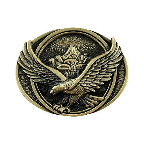 Belt 3d Buckle (QUKE American Western Pride Soaring Eagle Oval 3D Belt Buckle Bronze Color)