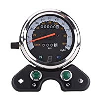 Qiilu Universal Motorcycle Dual Odometer Speedometer Speedo Meter Gear Digital Display