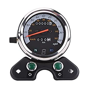 Qiilu Universal Motorcycle Dual Odometer Speedometer Speedo Meter Gear Digital Display