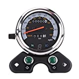 #5: Qiilu Universal Motorcycle Dual Odometer Speedometer With Digital Gear Display,Headlight Display,Turn Signal Indicator,Speed Pointer LED Backlight,Mileage Display Guage Assembly For ATV Honda Yamaha S