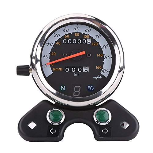 Motorcycle Speedometer, Universal Motorcycle Dual Odometer Speedometer Gauge with Indicator: