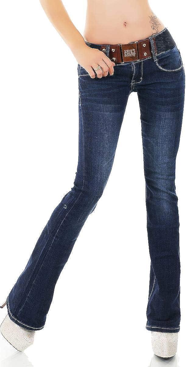 Color Azul Oscuro Label by Trendstylez W329 Pantalones Vaqueros con cintur/ón el/ástico