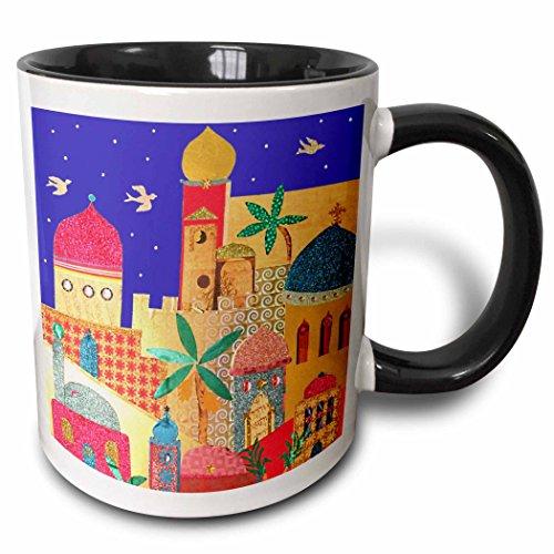 3dRose 3dRose Jerusalem city gold domes Islamic architecture art colorful arty buildings - Jewish Israel Judaica - Two Tone Black Mug, 11oz (mug_113178_4), Black/White
