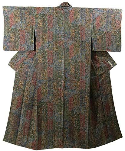 リサイクル 着物 小紋 短冊取りに更紗文様 裄65cm 身丈155cm 正絹 袷