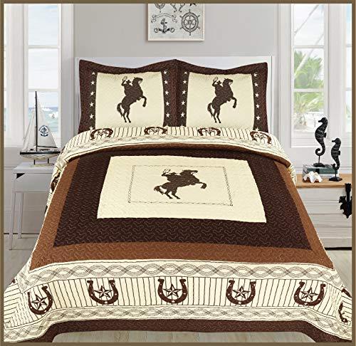 Western Horseshoe - Sapphire Home 3 Piece Queen Size Quilt Bedspread Set w/2 Pillow Shams, Western Design Collection, Wild Horse Country/Horseshoe/Star/Cowboy Design, Queen Western Beige Brown