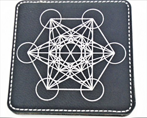 Etched Coffee Table (Geometry Symbols 4 Inch Black Silver Leatherette Laser Etched Drink Coasters (Set of 6) with Holder)