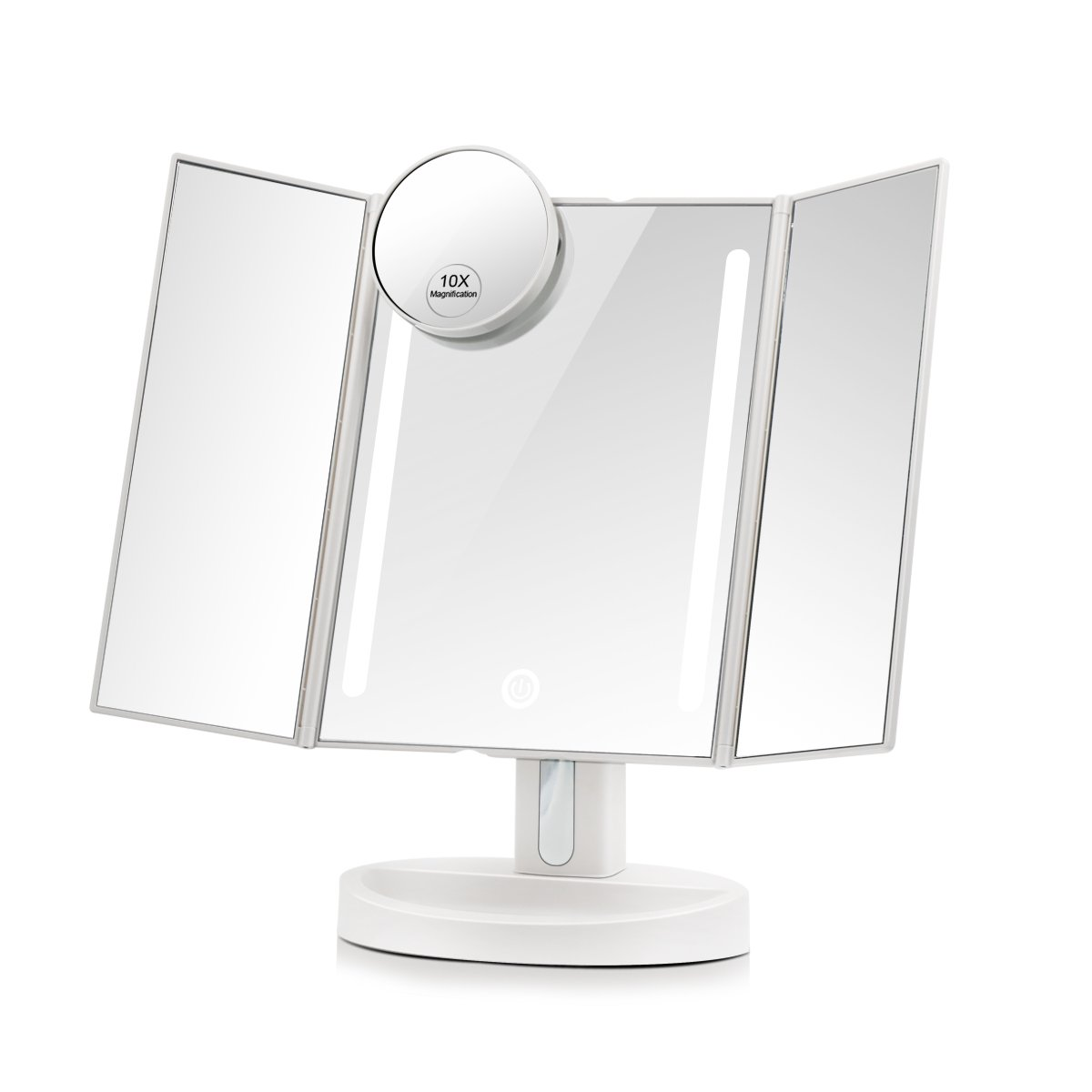 Terresa Lighted Travel Makeup Mirror - Round 1x/ 7x Magnifying Mirror with Portable Battery Operated Handheld Compact Led Mirror