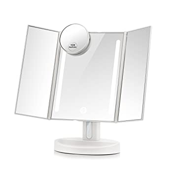 mirror on a stand vanity. Terresa Led Lighted Makeup Mirror with 10X Magnifying Small  Touch Screen and Dual Power Amazon com