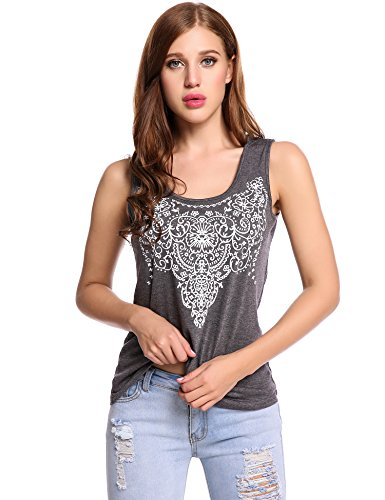 Meaneor Womens Sleeveless Printed Graphic