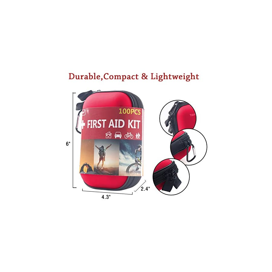 TIANBO FIRST First Aid Kit for Survival and Emergencies (85 Pieces) Light, Waterproof, Compact and Comprehensive Perfect for Hiking, Backpacking, Camping, Travel, Car & Cycling, Outdoors or Sports