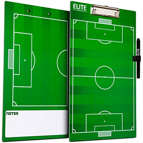 Elite Clipboards Double Sided Dry Erase Coaches Marker Board (Soccer)