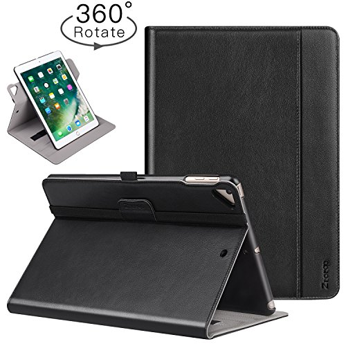 Ztotop iPad 9.7 Inch 2017 iPad Air iPad Air 2 Case - [360 Degree Rotating Genuine Leather] Business Folio Multi-Angle Viewing Stand Cover with Auto Wake Sleep - Document Card Slot - Hand strap - Black