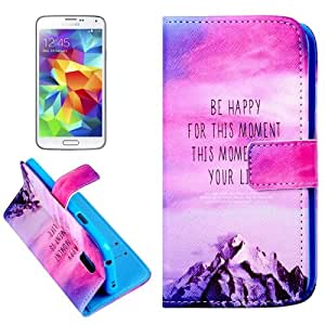 Red Sky and Snow Mountain Pattern Horizontal Leather Case Funda Flip Cover con bolsillos interiores & Wallet & Holder para Samsung Galaxy S5