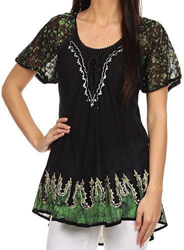 Sakkas 786 - Cora Relaxed Fit Batik Design Embroidery Cap Sleeves Blouse / Top - Black / Green - OS