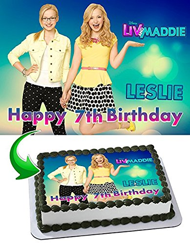 Liv and Maddie Edible Cake Topper Personalized Birthday 1/2 Size Sheet Decoration Party Birthday Sugar Frosting Transfer Fondant Image