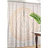 Madhu International Gold Silver Mandala Window Door Cover Curtain Hanging Balcony Room Decor Curtain Boho Set Ethnic Window Treatments & Panels Set