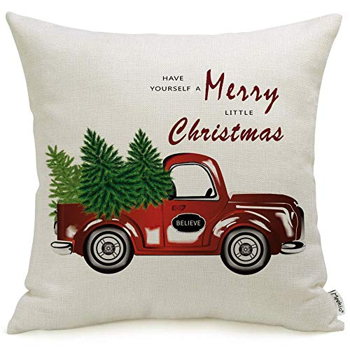 (Meekio Farmhouse Christmas Decorative Throw Pillow Covers 18 x 18 with Christmas Trees and Red Truck Print for Farmhouse Christmas Deco Xmas Gifts)