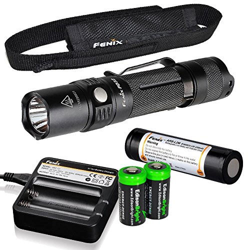 Bundle: Fenix PD32 2016 Edition 900 Lumen CREE LED Tactical Flashlight with Fenix ARB-L2M battery, Fenix ARE-C1 Battery charger with Two EdisonBright CR123A Lithium ()