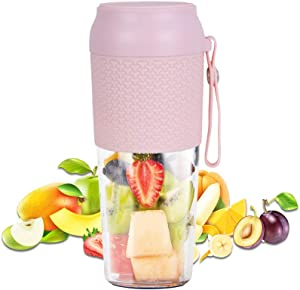Portable Personal Blender, Cordless Small Smoothie Blender Waterproof, BPA Free 300ml Mini Fruit Juicer Mixer with USB Chargeable for Home Office Sports Outdoor Travel (pink)