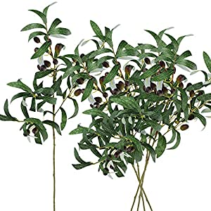"SUPLA 5 Pack Artificial Olive Branch Spray Plants Houseplant Olives Fruit Plants Greenery UV Resistant Plants 28.3"" Tall for Olive Wreath Indoor Outdoor Wedding Bouquets Floral Arrangements 50"