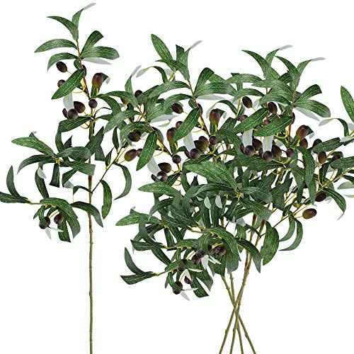 - SUPLA 5 Pack Artificial Olive Branch Spray Plants Houseplant Olives Fruit Plants Greenery UV Resistant Plants 28.3