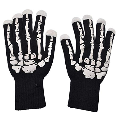 Dubstep Halloween Costumes (Pandna LED Finger Light Up Skeleton Gloves 9.1 x 4.7inch, Glowing Gloves for Halloween Costume Christmas Dance Dubstep Party)