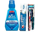 Crest Pro-Health Multi-Protection Oral Rinse, Refreshing Clean Mint + Crest Complete Extra Whitening with Tartar Protection Toothpaste + 2 Proplus Soft/Medium toothbrushes - Travel pack.