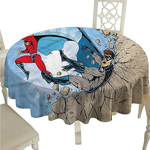ScottDecor Picnic Cloth Superhero,Comic Style Villian Hero Circular Table Cover Round Tablecloth D 54