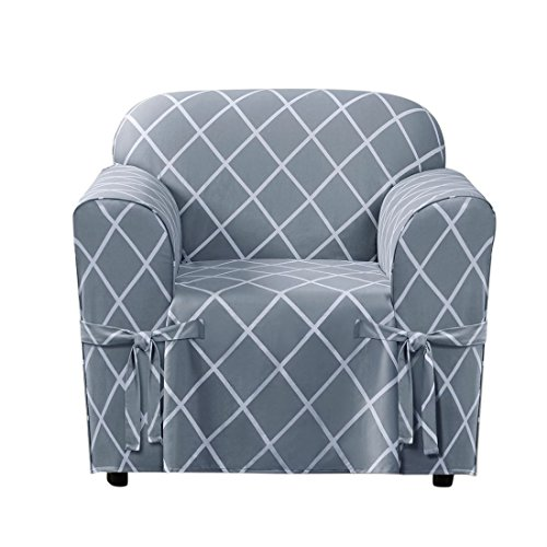 Duck Chair Slipcover Box Seat - BrylaneHome Mix & Match Lattice Design Cotton Chair Slipcover (Pacific Blue,0)