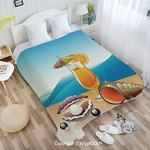 AngelDOU Printed Blanket Soft Quilt Bed Throws W55 xL72 Seashells and Glass of Orange Juice with Sea Summer Beach Digital Prints Decorative Bed Cover Air Condition Blankets.