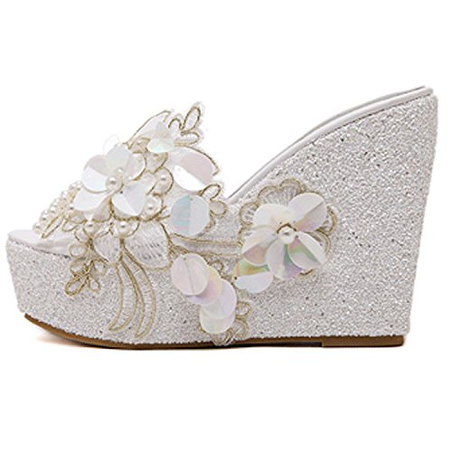 Bohemian Beaded Platform Style shoes Loft Fashion hot White Flowers Slippers Wedges National Women New Woman flip Flops p1RCqxw