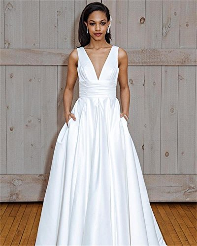A V line DreHouse Women Satin s Pockets with Bridal Ivory Long neck Dresses Wedding Gowns xIESxqB